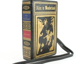 ALICE in WONDERLAND Book Clutch Crossbody Handbag - Black