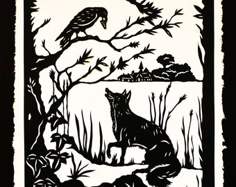 The FOX and the CROW Papercut - Hand-Cut Silhouette