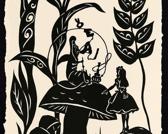ALICE'S ADVENTURES in WONDERLAND Papercut - Advice from a Caterpillar - Hand-Cut Silhouette