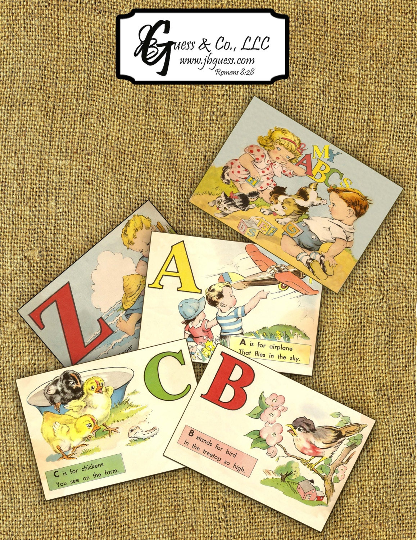 Printable Vintage Alphabet ABC Flash Cards Instant Download | Etsy