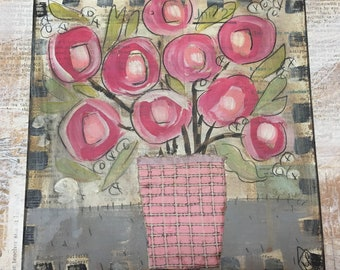 Something quilted pink - folk art  quilted florals