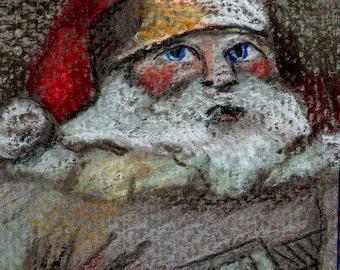 SALE original art  aceo drawing Santa  grey mood