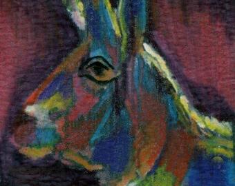 original art  aceo drawing abstract antelope