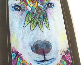 Greeting card polar bear tribal print of original art- colorful  Zentangle