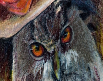 original art aceo drawing anthropomorphic great horned owl portrait animals in clothes