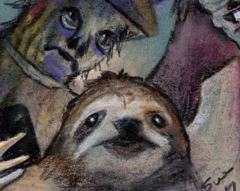 original art drawing color pencil aceo sloth scarecrow witch taking selfie