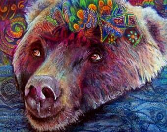 original art  drawing 16x20 bear swimmer zentangle