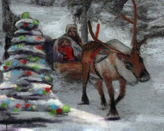 original art drawing color pencil aceo reindeer sleigh Santa Claus Christmas