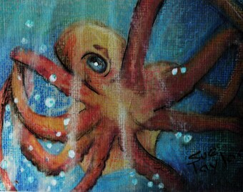 original art  aceo drawing red octopus marine ocean sea
