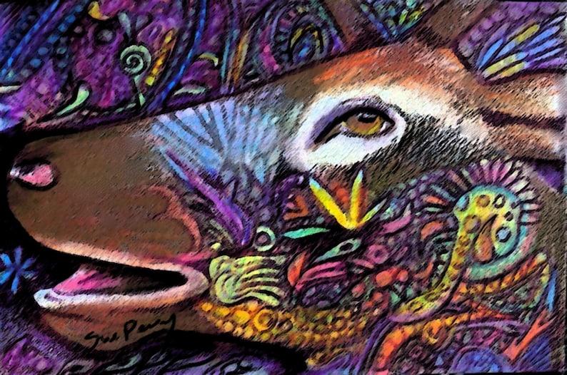 Original Arte Dibujo Color Lápiz Venado Buck Zentangle Etsy