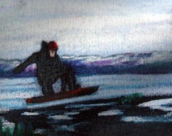 original art drawing aceo card snowboarder landscape