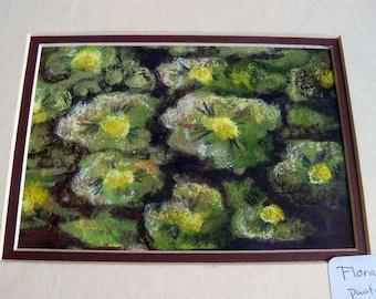 original art  drawing 8x10 green floral