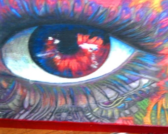 original art drawing red eye special color pencil wood panel 8x10 SALE