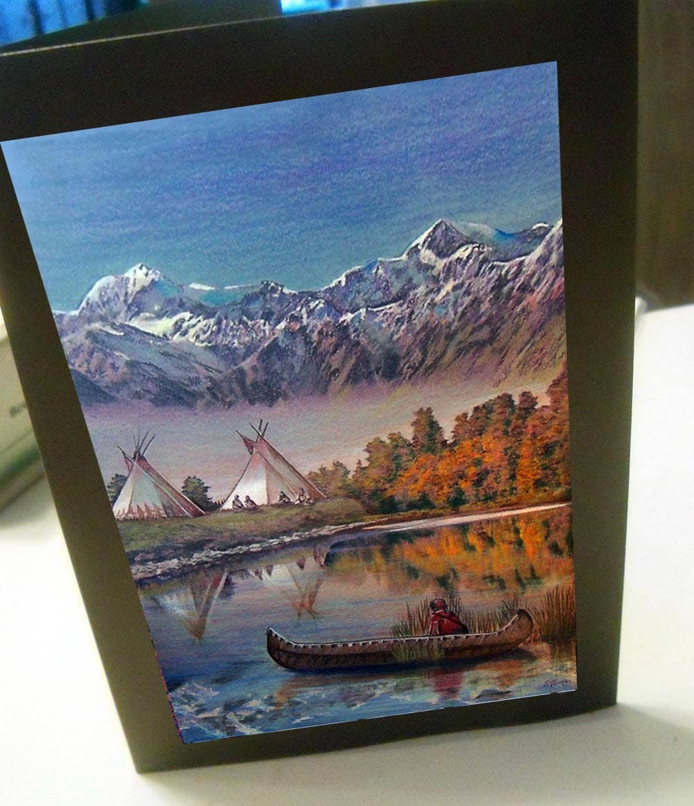 Greeting Card Native American Indian Canoe Teepee Reflection Etsy