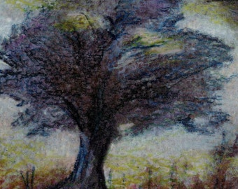 original art drawing aceo card lone tree muted amber grey