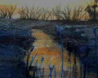 original art drawing aceo card landscape gold creek