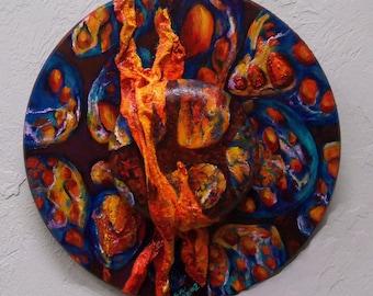 original art  painting acrylic burst of color round 18 inch diameter design abstract