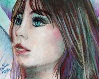 original art  aceo drawing fairy tale princess woman teal