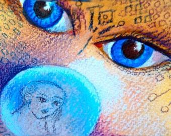 original art aceo card drawing-Bizzarre surreal baby globe