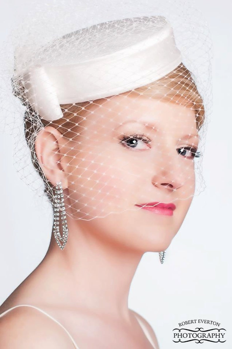 Elegant  Silk Dupioni Pillbox Wedding Hat  Made to Order  image 0
