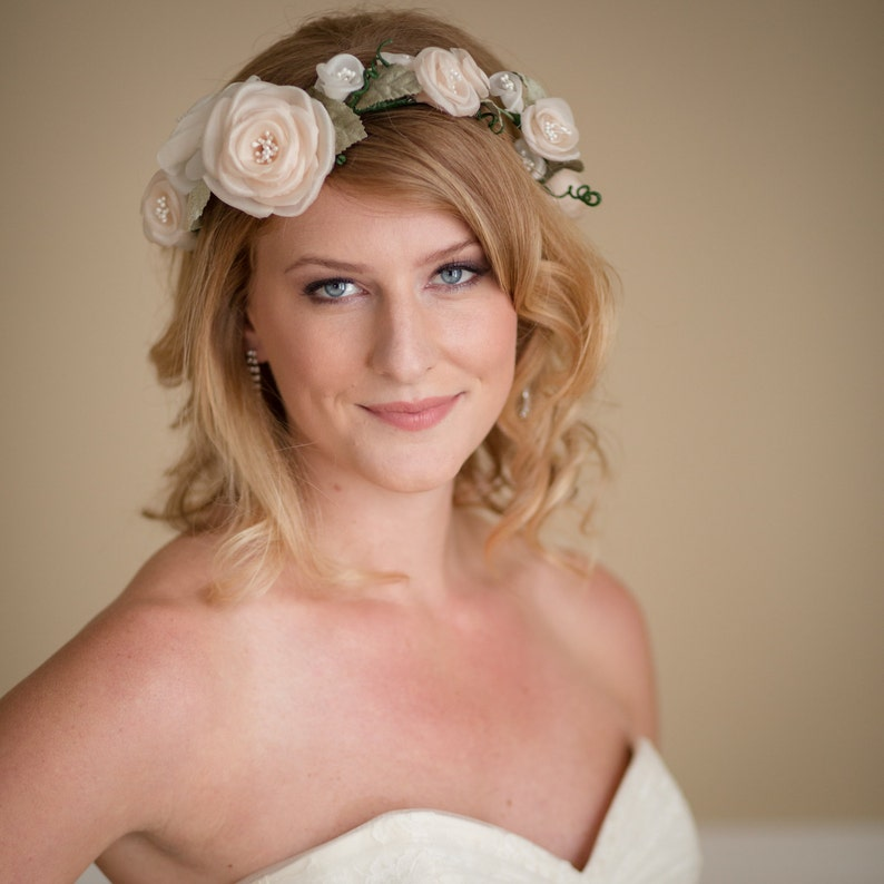 Rustic Woodland Crown Hand Pressed Organza Flowers Vintage Velvet Leaves Ivory and Peach Flowers  Ready to Ship as Shown