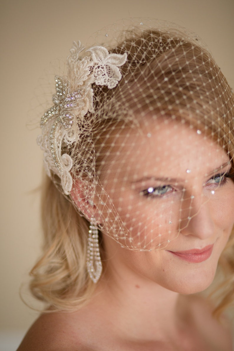 210c830651f60 Champagne Birdcage Veil with Lace and Rhinestone Fascinator