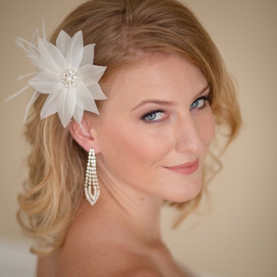 Wedding Flower Fascinator with Rhinestone Center  -- Ready to Ship in Ivory