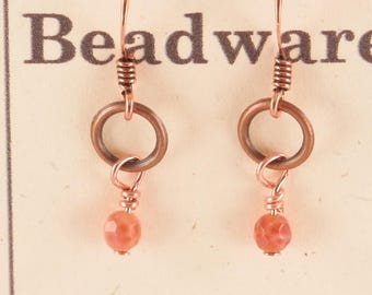 African Fire Agate and Copper Ring Earrings