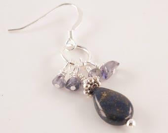 Lapis Lazuli Teardrop and Iolite Crystal Earrings