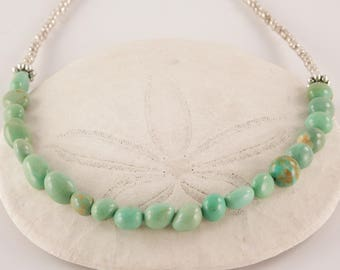 Turquoise, Glass and Pewter Necklace