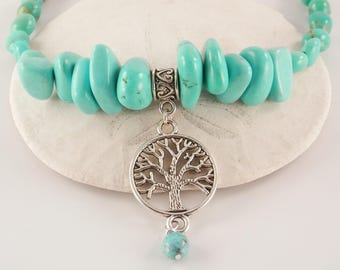 Turquoise, Glass and Pewter Tree of Life Necklace