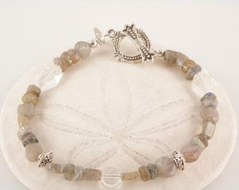 Labradorite, Rock Crystal, Glass and Pewter Bracelet