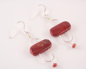 Apple and Poppy Jasper and Sterling Stonehenge Earrings