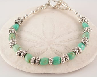 Turquoise, Glass and Pewter Bracelet