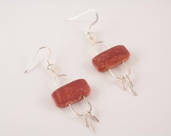 Red Creek Jasper and Sterling Stonehenge Earrings
