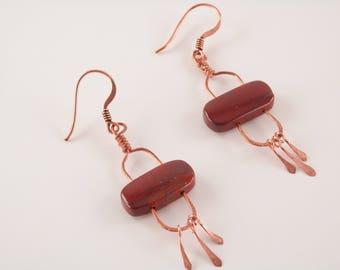 Apple Jasper and Copper Stonehenge Earrings