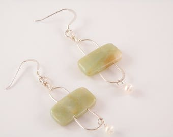 Amazonite, Freshwater Pearl and Sterling Stonehenge Earrings