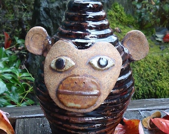 Tenmuko Monkey Face Jug Growler with handle