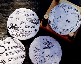 Wedding Art Coasters w/ madrone holder -custom made to order