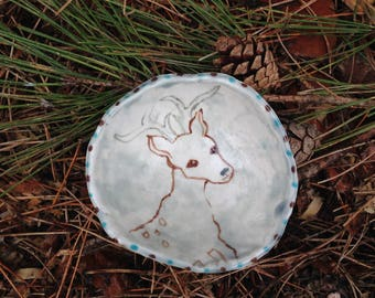 Woodland deer ceramic pinched art bowl