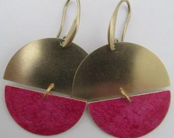 Brass Geometric Boho Earrings - Fuchsia