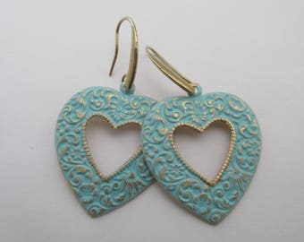 Etched Brass Patina Heart Earrings - Light Turquoise