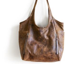 Seven Pocket Tote  -  Large  |  soft leather tote - soft leather shoulder bag - leather tote