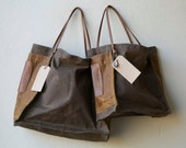 special - FARMERS MARKET TOTE - dark oak waxed canvas  with sienna side pockets - ships today