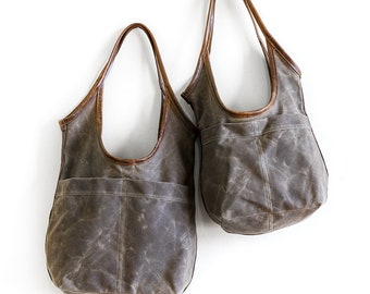 SALE - Waxed Canvas SLING - open pocket - small or medium - slouchy bag - light canvas tote