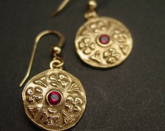 Byzantine Earrings with Garnet - Medieval Earrings - Byzantine Jewelry - Flower Earrings - Museum Earrings - Valentines Day Gift