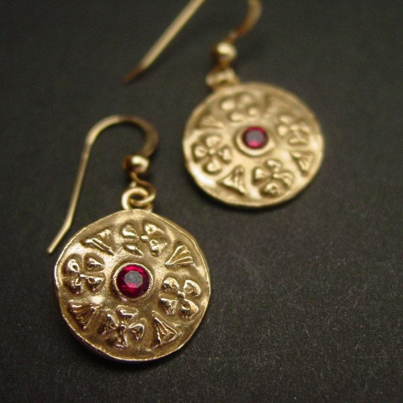 Byzantine Flower Earrings with Garnets - Medieval Jewelry - Byzantine  Jewelry