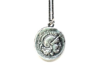 Athena | Goddess of Wisdom - Small silver coin necklace