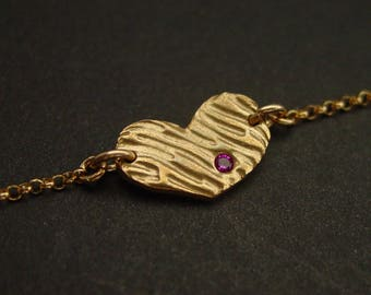 Heart bracelet with ruby