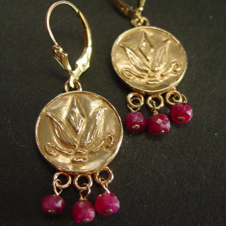 Greek Lotus Flower Earrings with Rubies - Byzantine Jewelry